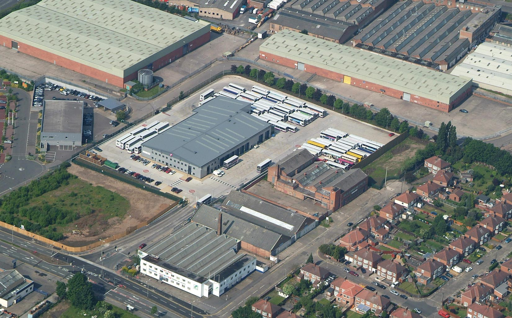 Abbey Park Road Bus Depot, Leicester, Aerial