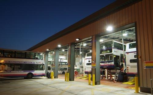 Abbey Park Road Bus Depot, Leicester, garages