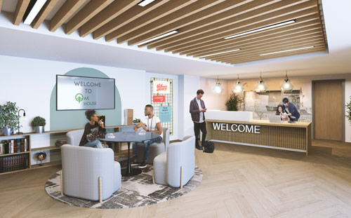 Oak House, Leeds, 3D visual of reception area