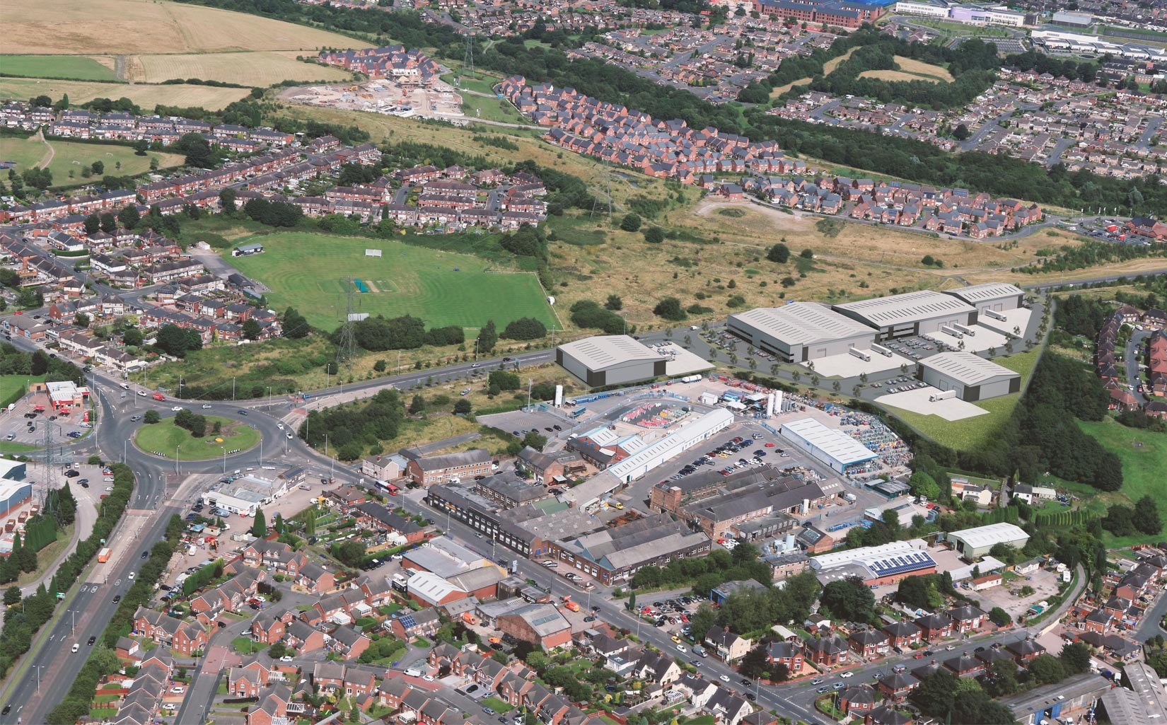 Tunstall Arrow, Stoke-on-trent, 3D aerial visual