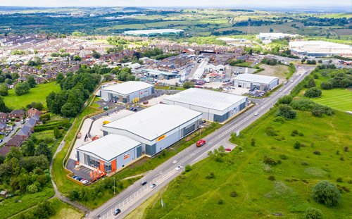 Tunstall Arrow, Stoke-on-trent, Aerial of the units