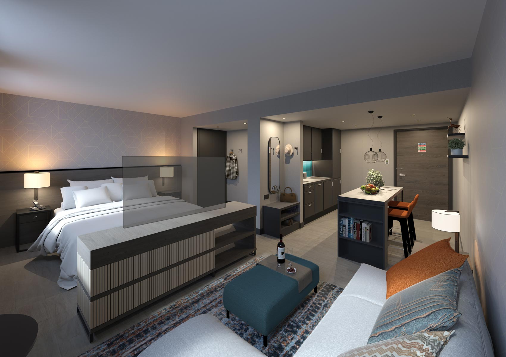 2 Sovereign Square, Leeds, 3D visual of hotel room