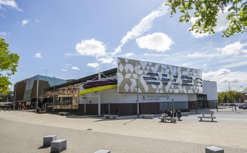 Community and College, leisure and Sports Centre, Blackburn, approach