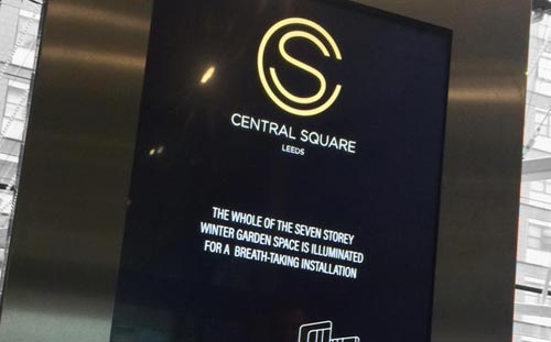 Central Square, Leeds, Logo and touch screen signage