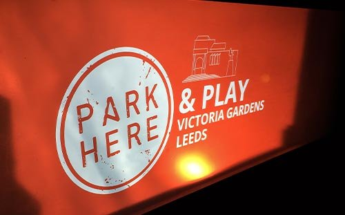 PARK HERE and PLAY, Leeds, logo