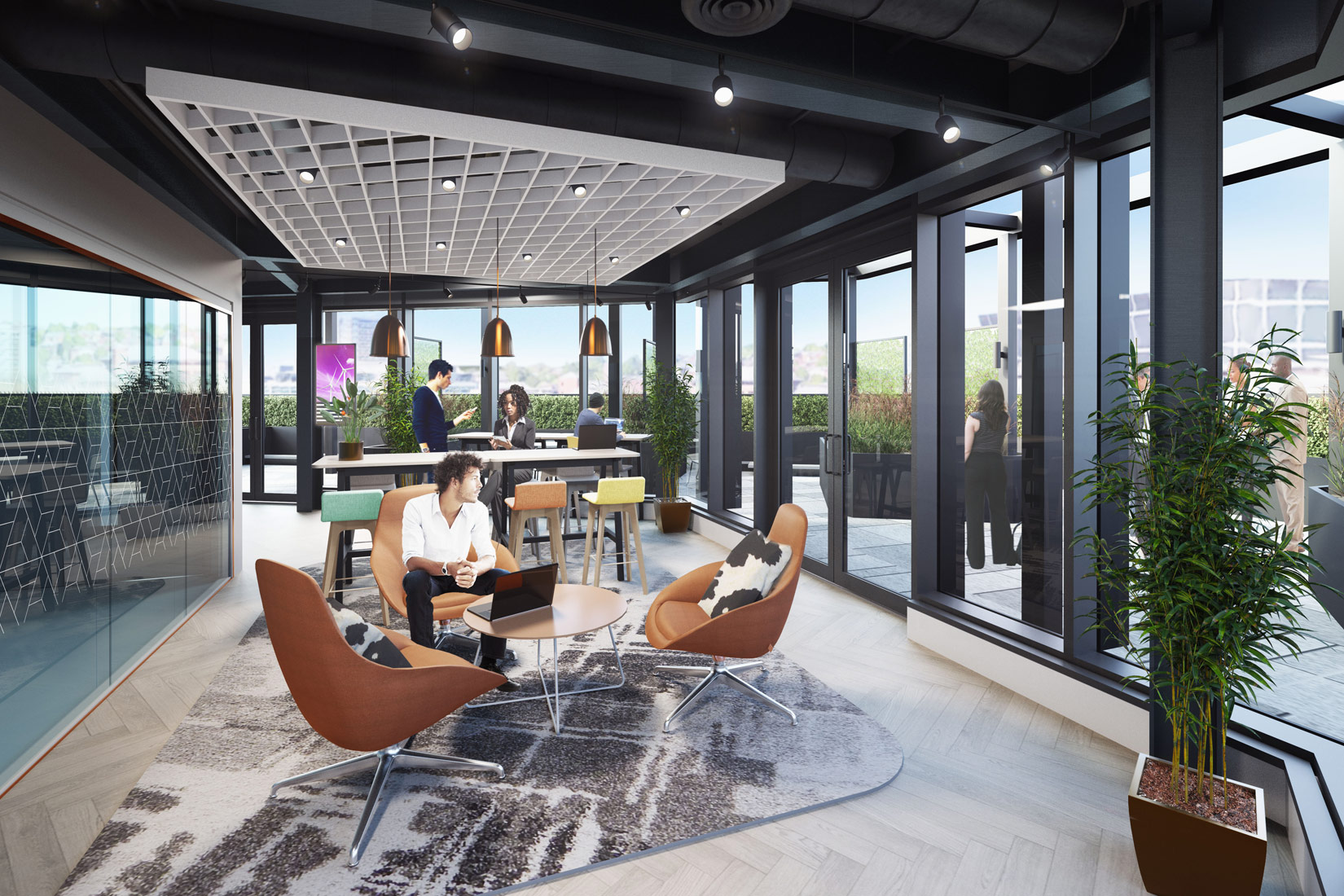 12 King Street, Leeds, 3D visual of office space and roof terrace