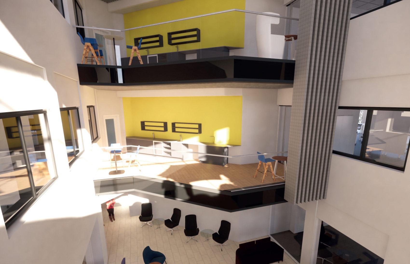 Leeds Building Society, 3D Visual of the interior walkways